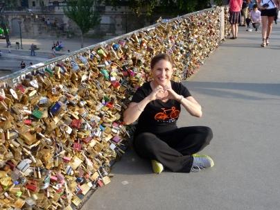 "Ali at a ""love lock"" bridge in Paris"
