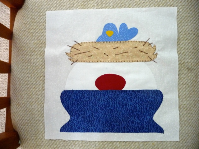 bird nest snowmen with embroidery